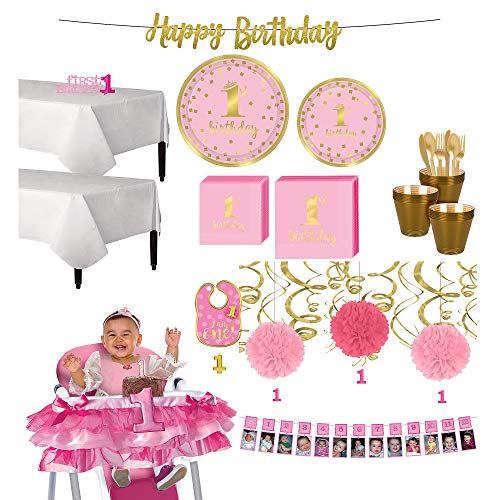 Party City Pink and Gold Confetti Premium 1st Birthday Deluxe Party Supplies for 32 Guests, Include Tutu and -