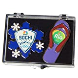 2014 & 2016 NBC Olympic Pin Set - Snowflake and Sandal from Sochi & Rio in Gift Box