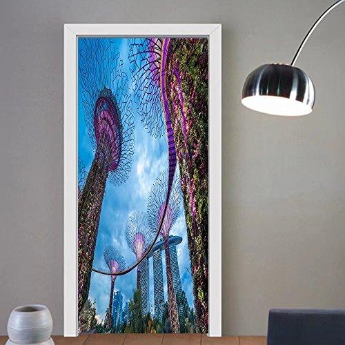 Summer Price custom made 3d Door Wall Mural Wallpaper singapore city skyline For Room Decor - Privacy Glass Singapore