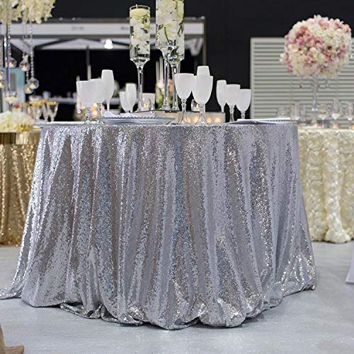 QueenDream Silver Sequin Overlay Sparkly Silver Sequin Tablecloth Glitz Sequined Table Linen 132inch round