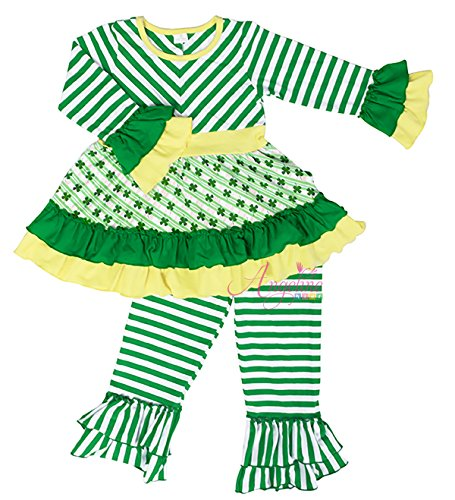 Angeline Boutique Clothing Girls ST. Patricks Day Shamrock Ruffles Playwear Set 4T (Tagged 120)