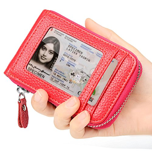 RFID Blocking Genuine Leather Credit Card Case Holder Security Travel Wallet Front Pocket Wallets for Men and Women
