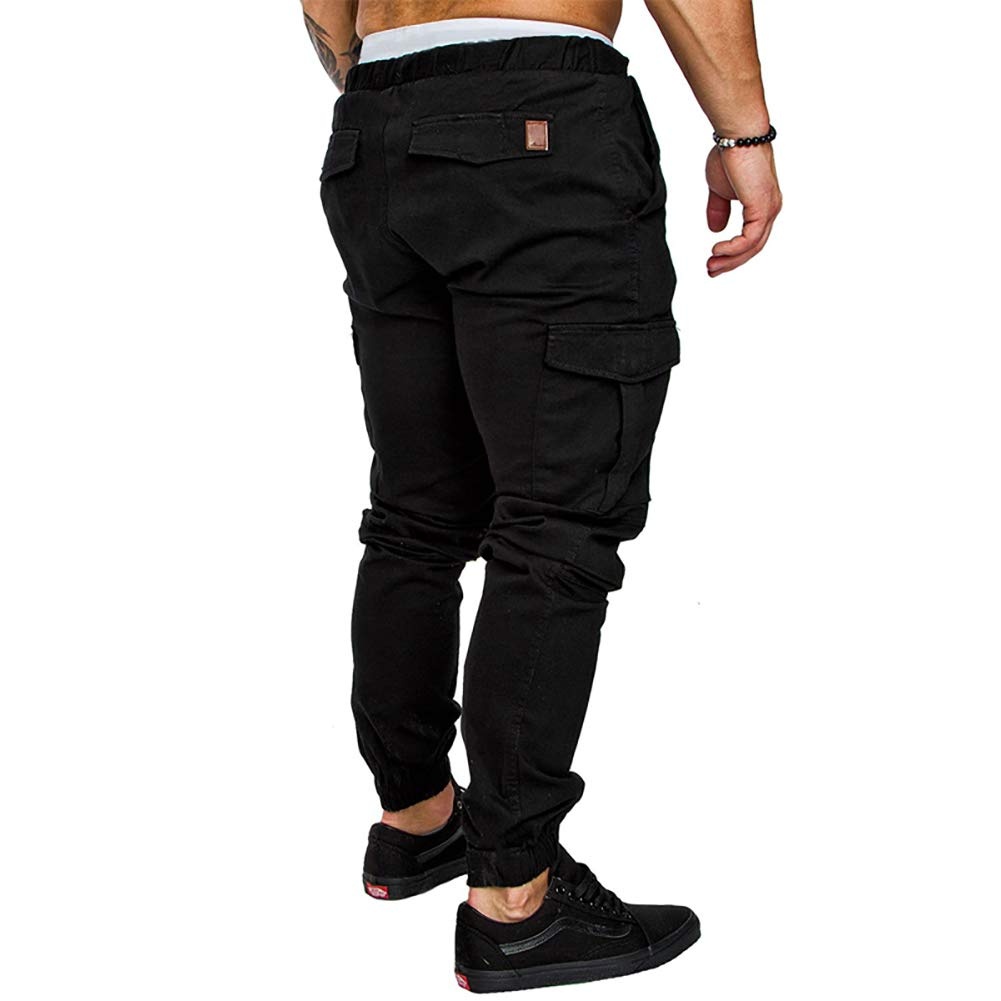 acelyn Mens Casual Trousers Multi-Pocket Slim Fit Sports Jeans Elasticated Waist Bodybuilding Workout Running Sweatpants M-4XL
