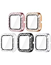 Surace Compatible for Fitbit Versa 2 Case with Screen Protector, Bling Crystal Diamond Tempered Glass Protective Cover Compatible for Fitbit Versa 2 Smart Watch, 5 Packs
