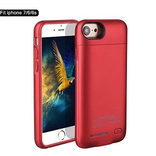 BIGFOX for iPhone 7 Battery Case, for iPhone 8 Charging Case Magnetic Rechargable External Battery Case 3000mAh Slim Extended Backup Power Bank Case Bank Cover for iPhone 6/6S/7/8[4.7inch] (Red)