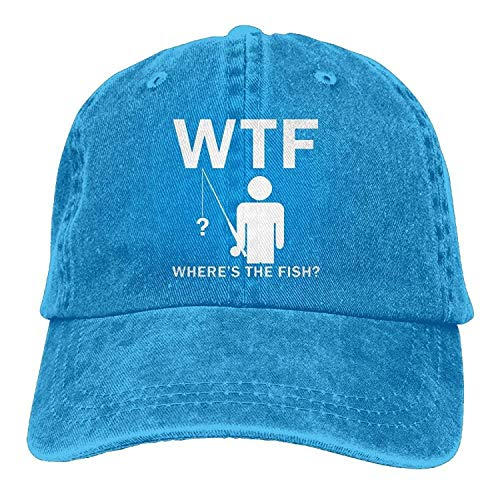 WTF Where's The Fish Funny Gifts for Dad Birthday Wedding Anniversary Father's Day Fishing Men & Women Retro Adjustable Casquette Cap Dad Trucker Hat(1)