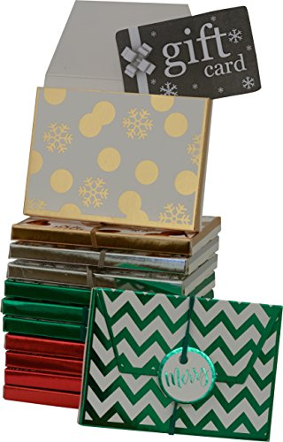 Gift card holder, envelope box with elastic and tag, assorted christmas designs in assorted colors, pack of 12 boxes (Card Santa Gift)