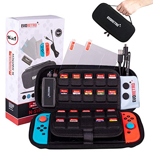 Starter Kit Accessories 14 pcs - Complete Bundle Set for Nintendo Switch Case Gaming Console from EVORETRO