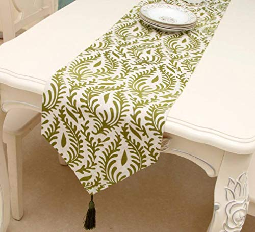 ROGEWIN Table Runners Refined Tassels Soft Pastoral Printed Linen Polyester Reusable No Fade Dining Room Home Decoration]()