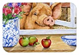 Caroline's Treasures CDCO0352JCMT ''Pig trying to reach the Apple in the Window'' Kitchen or Bath Mat, 24'' H x 36'' W, Multicolor