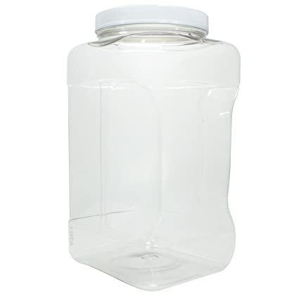 54c9b02bede1 1 Gallon / 128 oz / 4 Quart Square Food Storage Refillable PET Plastic (BPA  Free) Container Jar