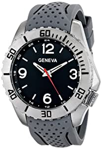 Geneva Men's 9310B-GEN Silver-Tone Watch with Perforated Grey Rubber Band