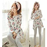 KAKA(TM) Women's Fashion Beautiful Rose Pattern Pure Cotton Pyjamas Homewear Sleepwear Set Long Sleeve Long Pants-XXL