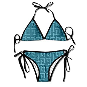 Geometry Women's Triangle Bikini Wavy Set Brazilian Swimwear 2 Sets