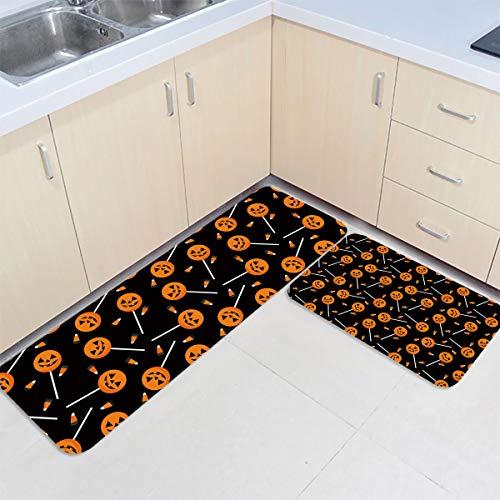 Fantasy Star 2 Piece Anti Fatigue Kitchen Rug- Happy Halloween Pumpkin Lollipop Comfort Doormat Absorbent Bathroom Carpet Non Slip Area Rug Pad Home Decor Mat (23.6