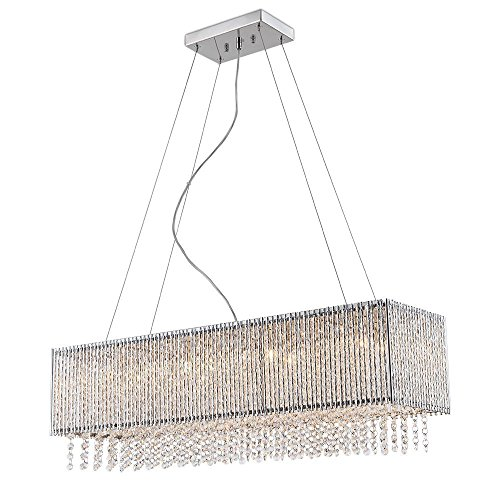 Ambiance Comfort Pendant Spiral Collection 8 Light Rectangular Pendant Crystal in Chrome Finish Chandelier ()