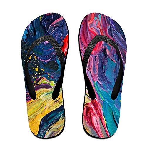 Unisex Pintura Summer Strap Chanclas Beach Slippers Plataformas Sandalias Para Hombres Mujeres Negro