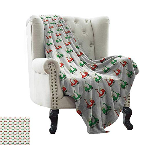 Fluffy Blanket Motorcycle,Vintage Scooters with Step-Through Frame on Display Lively Colors Spotlight, Emerald Scarlet Colorful,Home,Couch,Outdoor,Travel Use 70