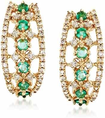 044d4fd54 Ross-Simons 0.30 ct. t.w. Emerald and .30 ct. t.w. Diamond Earrings