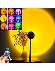 Sunset projectielamp, zonsondergang-projectielamp, lichtlamp, sfeerlamp, 16 kleuren, RGB-ledlicht, instelbare 180 graden rotatie, regenbooglamp met afstandsbediening, verlichting slaapkamer decoratie