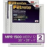 Filtrete MPR 1500 20x25x1 AC Furnace Air Filter, Healthy Living Ultra Allergen, 2-Pack