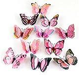 Sumen 12PCS 3D Double Butterfly Kids Wall Decals Wall Sticker Fridge Magnet Room Decor Decal Applique (Pink)
