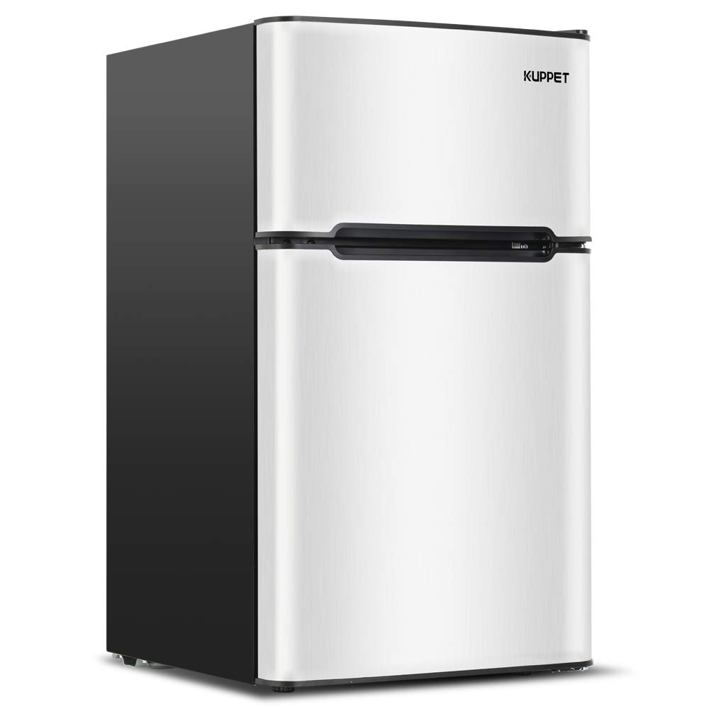 Kuppet Compact Refrigerator Mini Refrigerator for Dorm,Garage, Camper, Basement or Office, Double Door Refrigerator and Freezer, 3.2 Cu.Ft, Stainless Steel by KUPPET