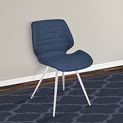 Armen Living Valor, Dining Chair (Set of 2), Vintage Dark Blue - Valor Contemporary Dining Chair in Dark Vintage Blue Faux Leather - Set of 2 Unique tall back design provides exceptional comfort Sturdy brushed stainless steel frame assures durability without compromising on style - kitchen-dining-room-furniture, kitchen-dining-room, kitchen-dining-room-chairs - 51fE 6%2BZi L. SS400  -