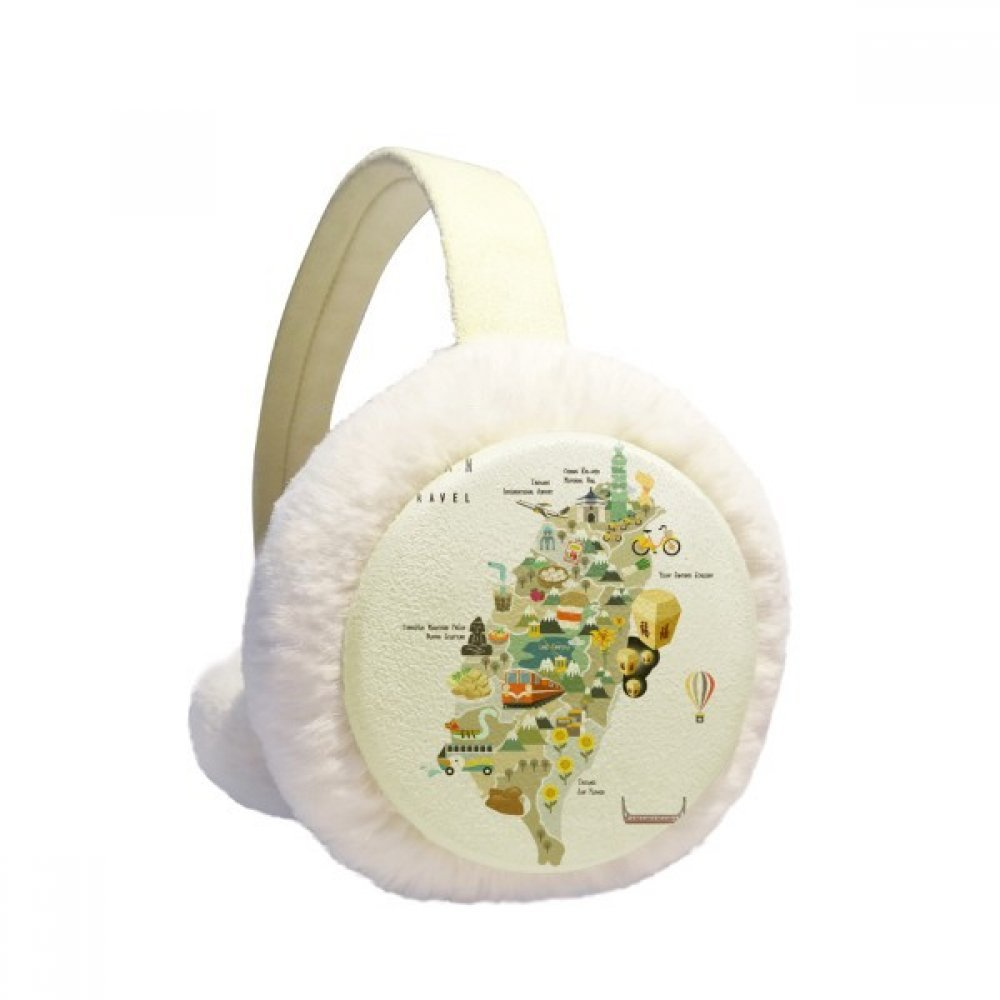 Travel Taiwan Area China Winter Earmuffs Ear Warmers Faux Fur Foldable Plush Outdoor Gift