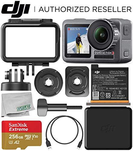 DJI Osmo Action 4K Camera with 256GB Basic Accessory Bundle - Includes: SanDisk Extreme 256GB microSDXC Memory Card (UHS-I / V30 / A2 / U3 / Class-10) + Microfiber Cleaning Cloth from DJI