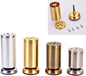 GFF DEYLK Metal Furniture Legs X4, Adjustable Cylindrical Support Sofa Legs, DIY Kitchen Feet/Tv Table/Coffee Table/Bathroom Cabinet/Bed Accessories, Screws and Protective Feet