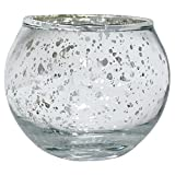 """Just Artifacts Round Mercury Glass Votive Candle Holders 2""""H Speckled Silver (Set of 12) - Mercury Glass Votive Candle Holders for Weddings and Home Décor"""