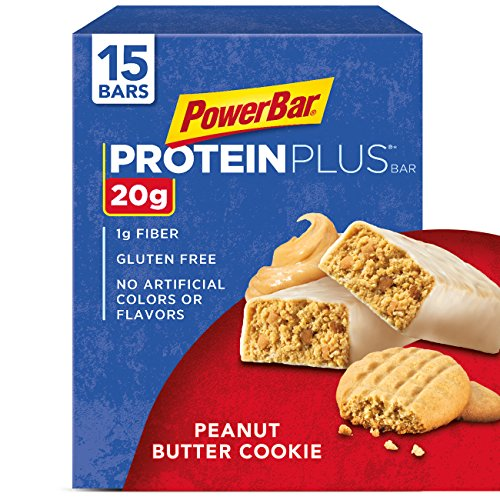 PowerBar Protein Plus Bar, Peanut Butter Cookie, 2.29 oz Bar, (15 Count)