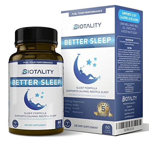 BIOTALITY Better Sleep Natural Sleep - aid for a deep, Restful Sleep Every Night, with Melatonin and Magnesium. Wake up Feeling Refreshed. A Great Nights' Sleep Leads to a Better Day.