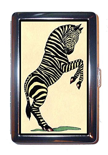Antique Zebra (Zebra Antique Color Illustration: Stainless Steel ID or Cigarettes Case (King Size or 100mm))