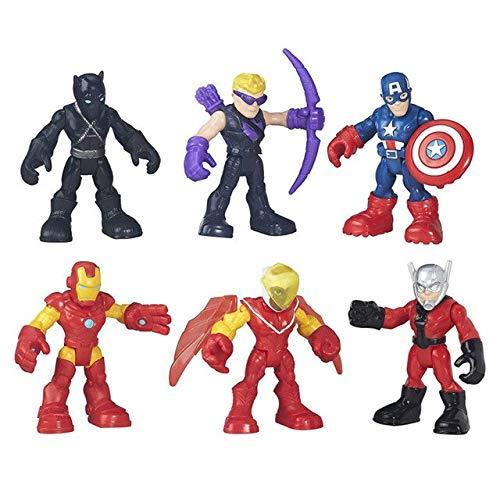 WEKIPP 6Pcs/Set : Superhero Man Q Version PVC Action Figure Toy 6Cm B1649 -Multicolor Complete Series Merchandise