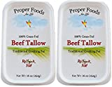 Proper Foods 100% Grass-Fed Beef Tallow, Cooking & Baking, 16 oz (Pack of 2)