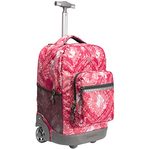 - WEISHENGDA 18 inches Wheeled Rolling Backpack for Teenagers College Books Bag Travel Trolley, Pink
