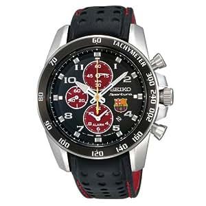 Seiko SNAE75P1 - Reloj para hombre con correa de cuero, color negro / gris