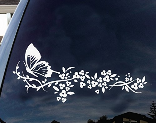 [Flower and Butterfly, beautiful nature Decal Stickers Car Window Truck laptop macbook Vinyl 6