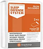 "HOSPITOLOGY PRODUCTS Sleep Defense System - Zippered Pillow Encasement - Standard - Hypoallergenic Protector - Waterproof - Bed Bug & Dust Mite Proof - Set of 2-20"" H x 26"" W"