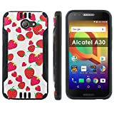 "[Mobiflare] Alcatel A30 Shock Proof Armor Protection [Black/Black] Ultra Defender Protective Phone Case - [Strawberries] for Alcatel A30 [5"" Screen]"
