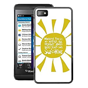 A-type Arte & diseño plástico duro Fundas Cover Cubre Hard Case Cover para Blackberry Z10 (Quote Yellow Rays Text Sunshine)