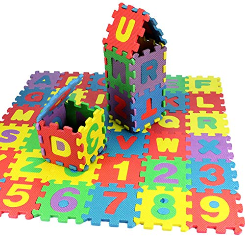 - 36 Pcs/ Pack Baby Jigsaw Mat, Soft Foam Play Alphabet Numbers DIY Puzzle Carpet Pad Floor