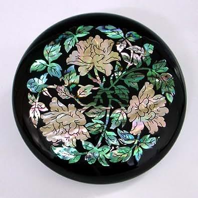 Espejo con Madreperla Hoja Verde Espejo Negro Compacto para Maquillaje con Diseño de Peonía