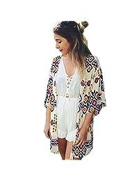 Coromose Women Geometry Printed Chiffon Shawl Kimono Cardigan Tops Cover up Blouse