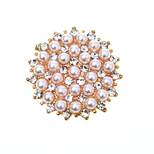 Monrocco 15 pcs Rhinestone Faux Pearl Flower Buttons Embellishments for Craft ()