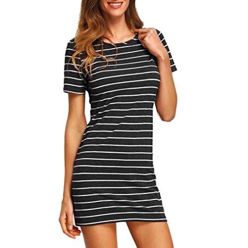 Yang-Yi Clearance, Hot 2018 Fashion Womens Stripe Short Sleeve Striped Loose T-Shirt Dress (Black, (Petite Stretch Seersucker)