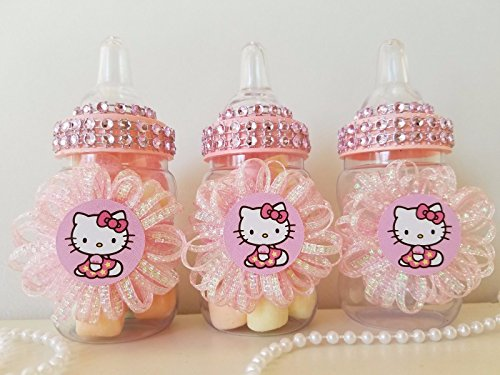 12 Hello Kitty Fillable Bottles Favors Prizes Games Baby Shower Girl Decorations by Product789
