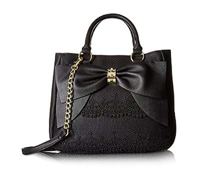 Betsey Johnson Women's Bow on Bucket Black Cream Handbag